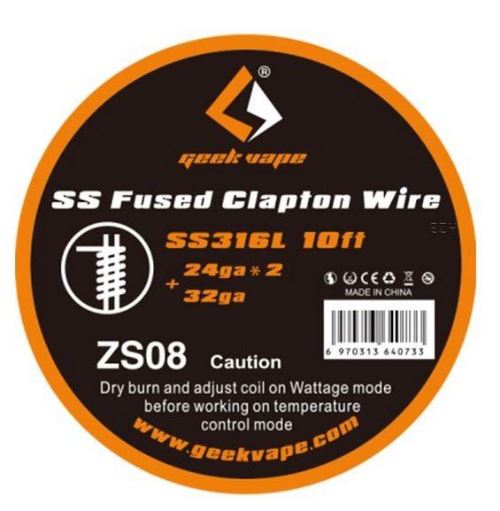 Geekvape Wickeldraht Fused Clapton SS316L auf Spule - 10ft